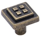 Amerock BP4454-R2 Square Knob, Length 1-1/8, Weathered Brass, Forgings