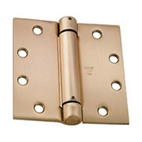 Stanley Security 42-0742, Steel Spring Hinges, Self Closing, Single Acting, 3-1/2 W x 3-1/2 L, Full Mortise, Square Type, Up to 110lb Cap., Dull Brass