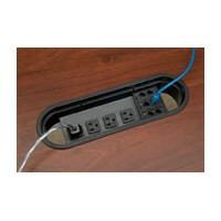 Mockett PCS3-90, Oval Plastic Power Cord Grommet, 4 Electrical Outlets/3 Phone Data Jack, Bore Hole: 12 L x 3-1/2 W, Black