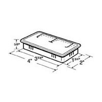 Hardware Concepts 6391-010, Rectangle Plastic 2-Piece, Grommet & Cap, Bore Hole: 3-3/4 L x 1-3/4 W, White