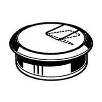Hardware Concepts 6620-014, Round Plastic 2-Piece, Grommet & Cap with Pivot Hinge, Bore Hole: 1-1/2 dia., Black
