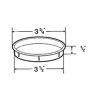 Hardware Concepts 6135-010, Round Plastic 1-Piece, Cup Holder Grommet with Solid Bottom, Bore Hole: 3-1/2 dia., White