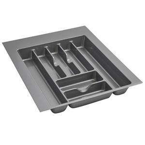 "17-1/2"" Cutlery Drawer Insert, Plastic, Glossy Silver, Rev-a-shelf  GCT-3S-52"