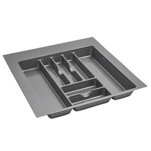 "21-7/8""W Cutlery Drawer Insert, Plastic, Glossy Silver, Rev-a-shelf  GCT-4S-52"