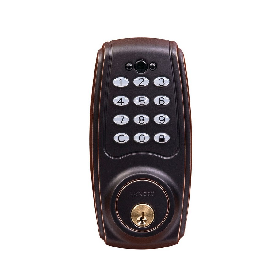 Transitional Electronic Keypad Deadbolt Lock Aged Bronze Hickory Hardware HH075774-ABZ