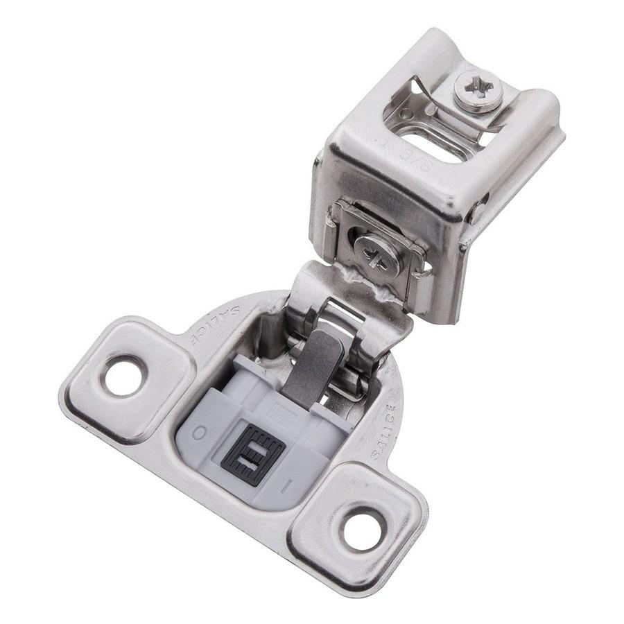 "106° 1-3/8"" Overlay Soft-Closing Face Frame Hinge Polished Nickel Hickory Hardware HH74719-14"