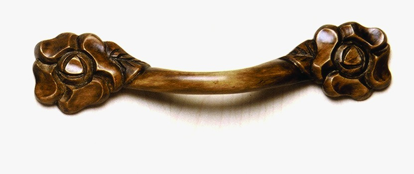 Grand River HNDL-6H-O, Flower Horizontal Oak Wood Pull, Unfinished, Flower Horizontal Collection