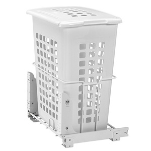 Wire Bottom Mount Polymer Hamper Pullout White Rev-A-Shelf HPRV-1925DM S