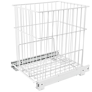 Wire Bottom Mount Hamper Pullout White Rev-A-Shelf HRV-1520 S