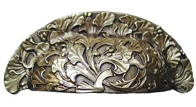 Notting Hill NHBP-802-AB, Florid Leaves Bin Pull in Antique Brass, Floral