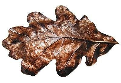 Notting Hill NHBP-844-AC, Oak Leaf Bin Pull in Antique Copper, Leaves