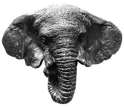 Notting Hill NHBP-853-AP, Goliath (Elephant) Bin Pull in Antique Pewter, All Creatures