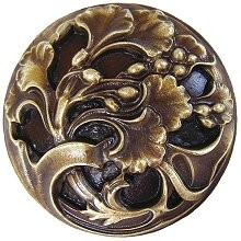 Notting Hill NHK-102-AB, Florid Leaves Knob in Antique Brass, Floral