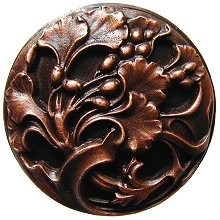 Notting Hill NHK-102-AC, Florid Leaves Knob in Antique Copper, Floral