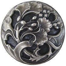 Notting Hill NHK-102-AP, Florid Leaves Knob in Antique Pewter, Floral