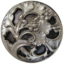 Notting Hill NHK-102-SN, Florid Leaves Knob in Satin Nickel, Floral