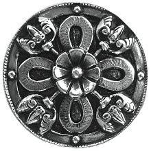 Notting Hill NHK-103-BN, Celtic Shield Knob in Brite Nickel, Jewel