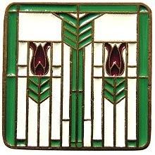 Notting Hill NHK-117-AB-A, Prairie Tulips Knob in Antique Brass/Spring Green, Arts & Crafts