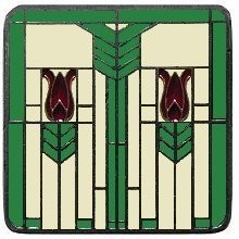 Notting Hill NHK-117-AP-A, Prairie Tulips Knob in Antique Pewter/Spring Green, Arts & Crafts