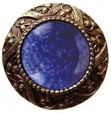 Notting Hill NHK-124-AB-BS, Victorian Jewel Knob in Antique Brass/Blue Sodalite Natural Stone, Jewel