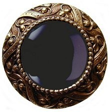 Notting Hill NHK-124-AB-O, Victorian Jewel Knob in Antique Brass/Onyx Natural Stone, Jewel