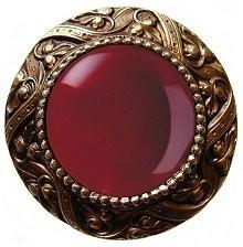 Notting Hill NHK-124-AB-RC, Victorian Jewel Knob in Antique Brass/Red Carnelian Natural Stone, Jewel
