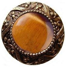 Notting Hill NHK-124-AB-TE, Victorian Jewel Knob in Antique Brass/Tiger Eye Natural Stone, Jewel