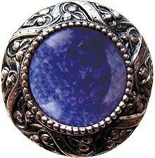 Notting Hill NHK-124-BN-BS, Victorian Jewel Knob in Brite Nickel/Blue Sodalite Natural Stone, Jewel