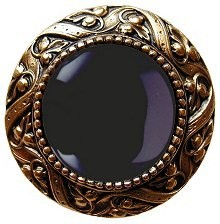 Notting Hill NHK-124-G-O, Victorian Jewel Knob in Antique 24K Gold/Onyx Natural Stone, Jewel