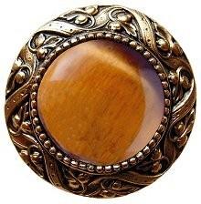 Notting Hill NHK-124-G-TE, Victorian Jewel Knob in Antique 24K Gold/Tiger Eye Natural Stone, Jewel