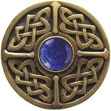 Notting Hill NHK-158-AB-BS, Celtic Jewel Knob in Antique Brass/Blue Sodalite Natural Stone, Jewel