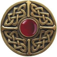 Notting Hill NHK-158-AB-RC, Celtic Jewel Knob in Antique Brass/Red Carnelian Natural Stone, Jewel