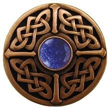 Notting Hill NHK-158-AC-BS, Celtic Jewel Knob in Antique Copper/Blue Sodalite Natural Stone, Jewel