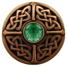 Notting Hill NHK-158-AC-GA, Celtic Jewel Knob in Antique Copper/Green Aventurine Natural Stone, Jewel