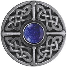 Notting Hill NHK-158-AP-BS, Celtic Jewel Knob in Antique Pewter/Blue Sodalite Natural Stone, Jewel