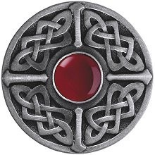 Notting Hill NHK-158-AP-RC, Celtic Jewel Knob in Antique Pewter/Red Carnelian Natural Stone, Jewel
