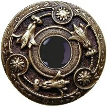 Notting Hill NHK-161-AB-O, Jeweled Lily Knob in Antique Brass/Onyx Natural Stone, Jewel