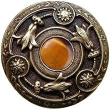 Notting Hill NHK-161-AB-TE, Jeweled Lily Knob in Antique Brass/Tiger Eye Natural Stone, Jewel