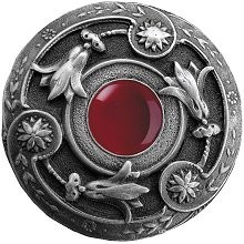 Notting Hill NHK-161-AP-RC, Jeweled Lily Knob in Antique Pewter/Red Carnelian Natural Stone, Jewel