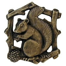 Notting Hill NHK-177-AB-R, Grey Squirrel Knob in Antique Brass (Right Side), Great Outdoors