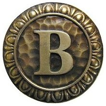 Notting Hill NHK-181-AB, Initial B Knob in Antique Brass, Jewel