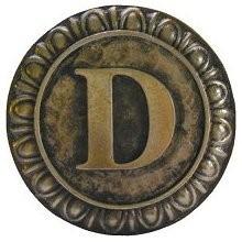 Notting Hill NHK-183-AB, Initial D Knob in Antique Brass, Jewel