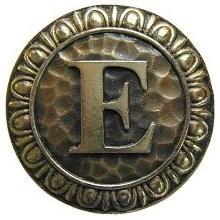 Notting Hill NHK-184-AB, Initial E Knob in Antique Brass, Jewel