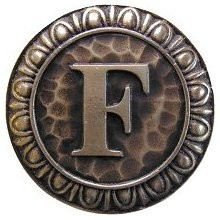 Notting Hill NHK-185-AB, Initial F Knob in Antique Brass, Jewel