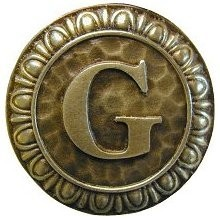 Notting Hill NHK-186-AB, Initial G Knob in Antique Brass, Jewel