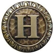 Notting Hill NHK-187-AB, Initial H Knob in Antique Brass, Jewel
