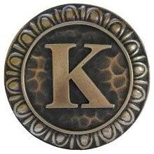 Notting Hill NHK-190-AB, Initial K Knob in Antique Brass, Jewel