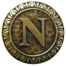 Notting Hill NHK-193-AB, Initial N Knob in Antique Brass, Jewel