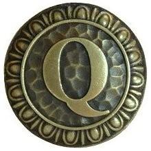 Notting Hill NHK-196-AB, Initial Q Knob in Antique Brass, Jewel