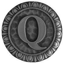 Notting Hill NHK-196-AP, Initial Q Knob in Antique Pewter, Jewel